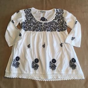 World Market boho style embroidered top